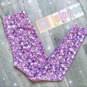 LuLaRoe SOFT Women's Leggings Bird Print Purple